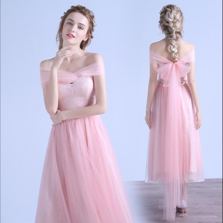 Spitze Tüll Tee Länge Brautjungfer Kleid Blush Rosa Sweetheart Mid of Ehre Backless Strand Hochzeit Kleid