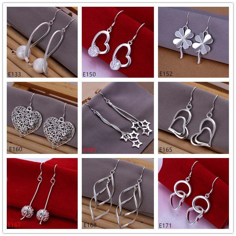 Best gift women's sterling silver plated earring 10 pairs mixed style EME22,wholesale fashion plate 925 silver Dangle Chandelier earrings