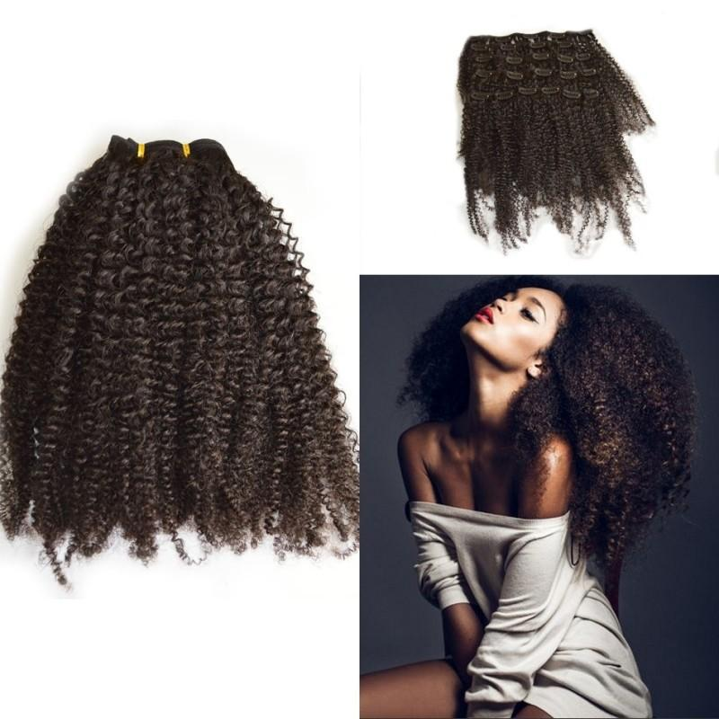 Remy Hair Clip Ins Extensions Indian Virgin Hair Tight Afro Kinky Curly Clip Ins for African American 7 Pcs/set FDSHINE