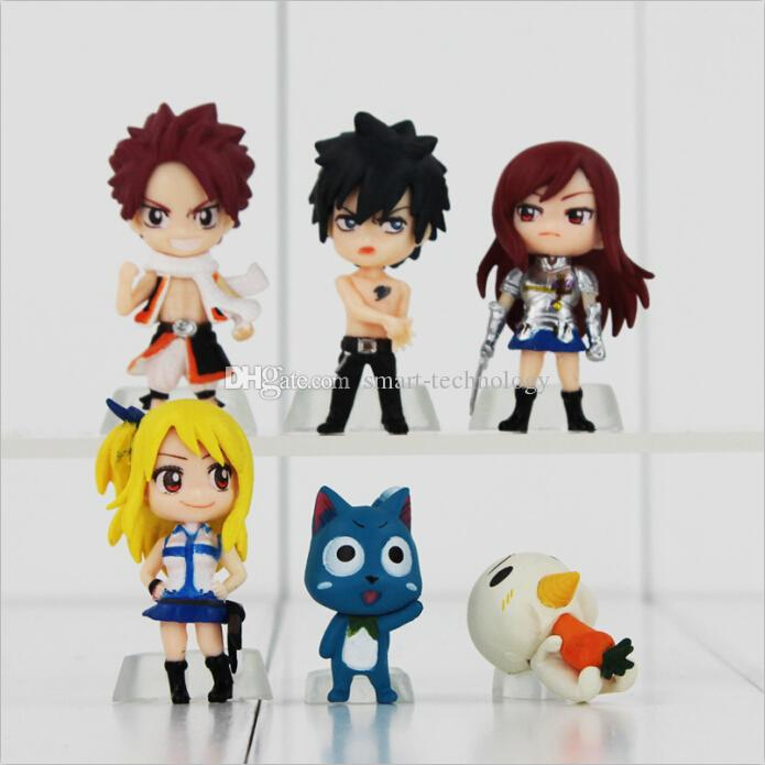 Anime Fairy Tail Natsu / Gray / Lucy / Erza PVC Action Figure Collectable Model toy for kids gift Free Shipping