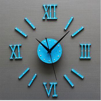 Классические европейские часы, старинные деревянные DIY римские цифры креативные настенные часы, потертые синие настенные часы
