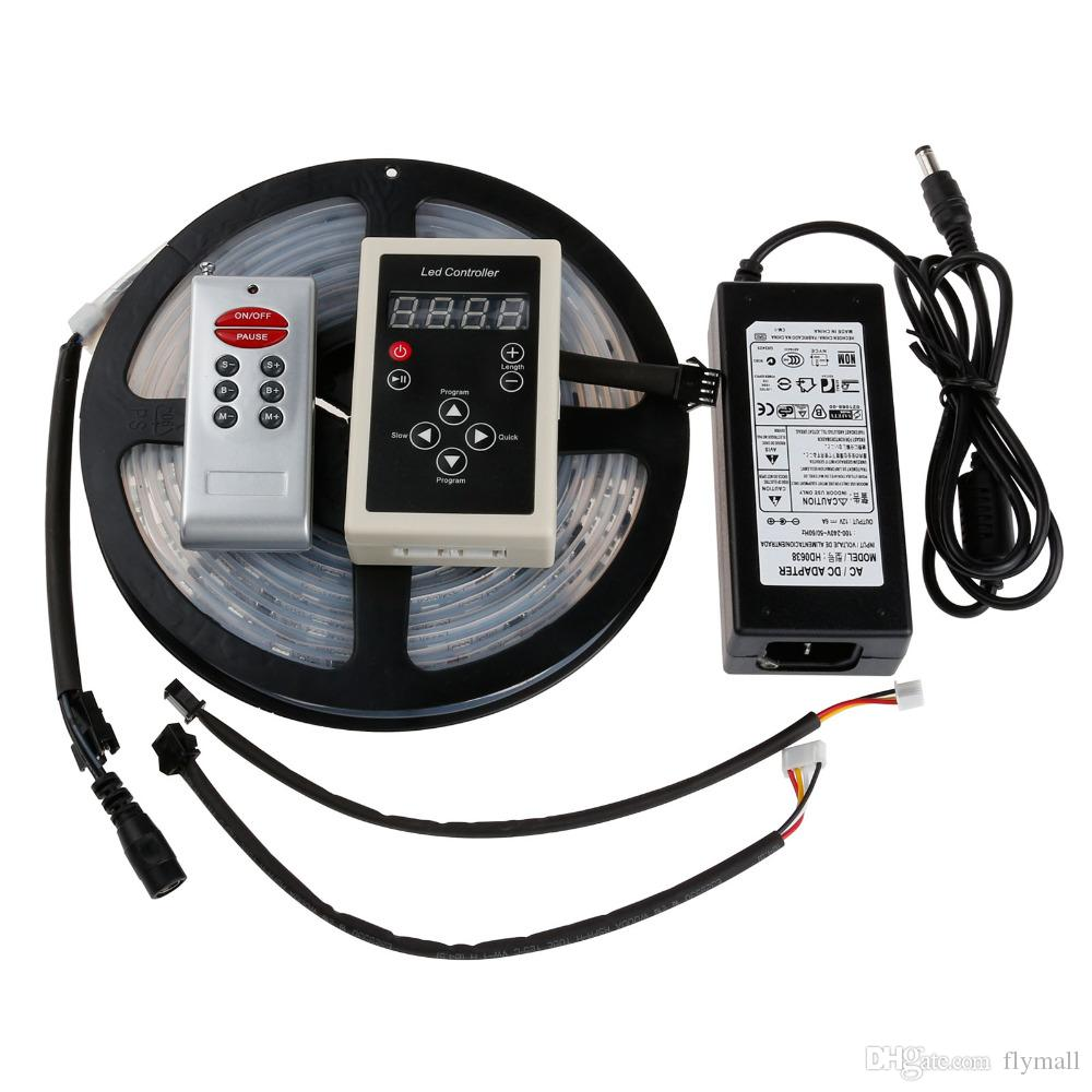 Kit completo a prueba de agua 5050 5M 16.4Ft IC 6803 Dream Magic 133 colores Cambiar RGB Tiras de LED Light + RF Remote Controller + 12V 6A Fuente de alimentación