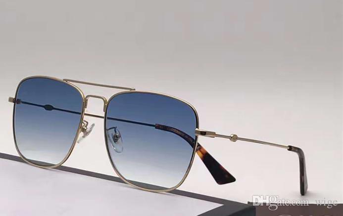 Męskie Gold Blue Square Okulary 0108S Metal Gold Square Okulary Nowe z pudełkiem