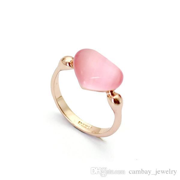 18K Rose Golden Rings Opal Stone Solitaire Heart Ring Women Finger Ring Blue/Pink 2 Colors Option