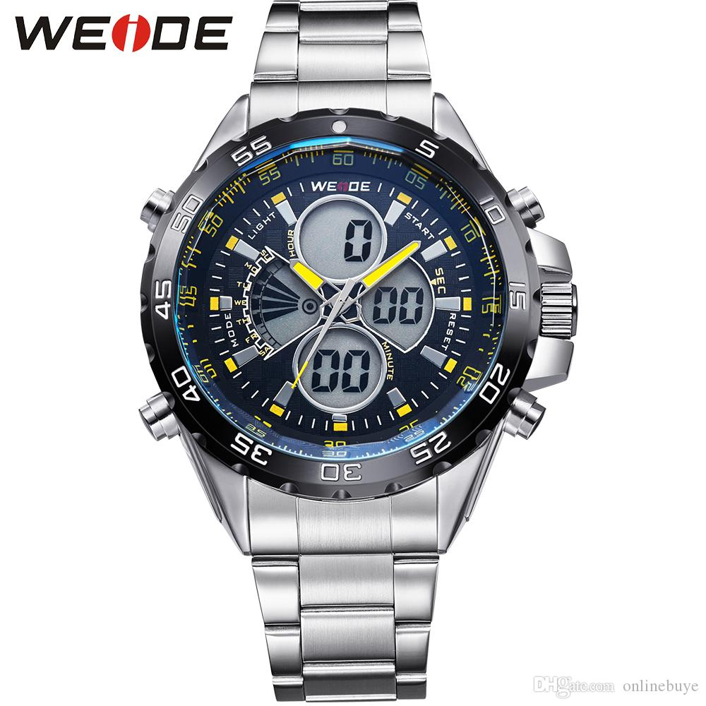 WEIDE Original Men Sports Watch Full Steel Quartz Military Watches Fashion Diver Waterproofed Brand New Free Shipping