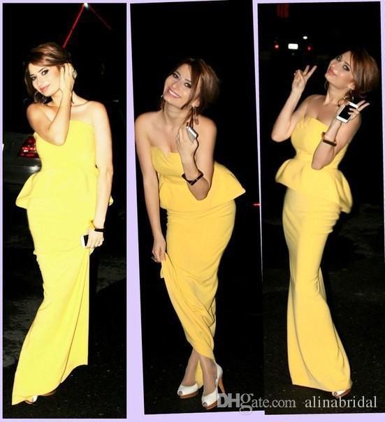 Hermosa sirena amarilla vestidos de noche sin tirantes de satén sexy Vestidos De Festa piso-longitud más el tamaño de los vestidos de alfombra roja 2016