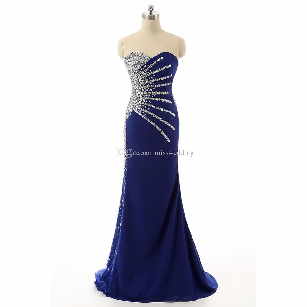 2018 Eren Jossie Real Made Sirène Robe De Soirée Chérie Perlée De Mode Longue Robe Bleu Conception Européenne Américaine