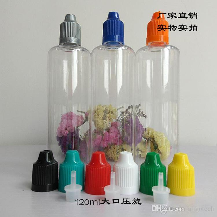 Großhandel 450pcs 120ml Klare E-Saft-Flasche 4OZ Tropfflasche mit Kind Proof Cap Lange dünne Spitze für Ecig Eliquid Öl