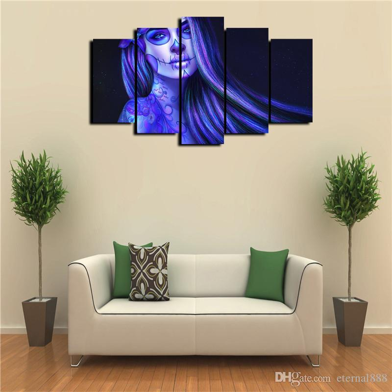 Home Wall Artwork Decor Tattoo Girls Oil Painting Picture Printed On Canvas