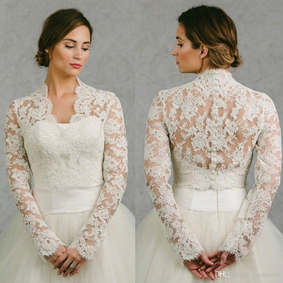 2018 Bolero Bridal Lace Cape Long Sleeves Bridal Wrap Appliqued Jackets Wedding Capes Wraps Bolero Jacket Wedding Dress Wraps Plus Size