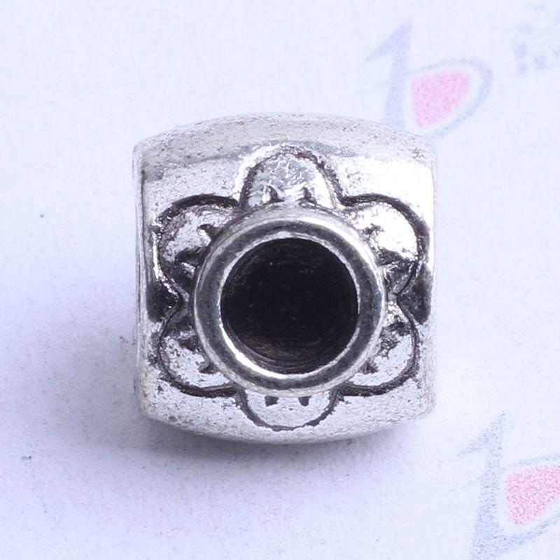 Oval Pandora suelta Bead Plum Blossom charm plata antigua / bronce encantos de la aleación de zinc perlas europeas Fit Pandora pulseras 100pcs 2408