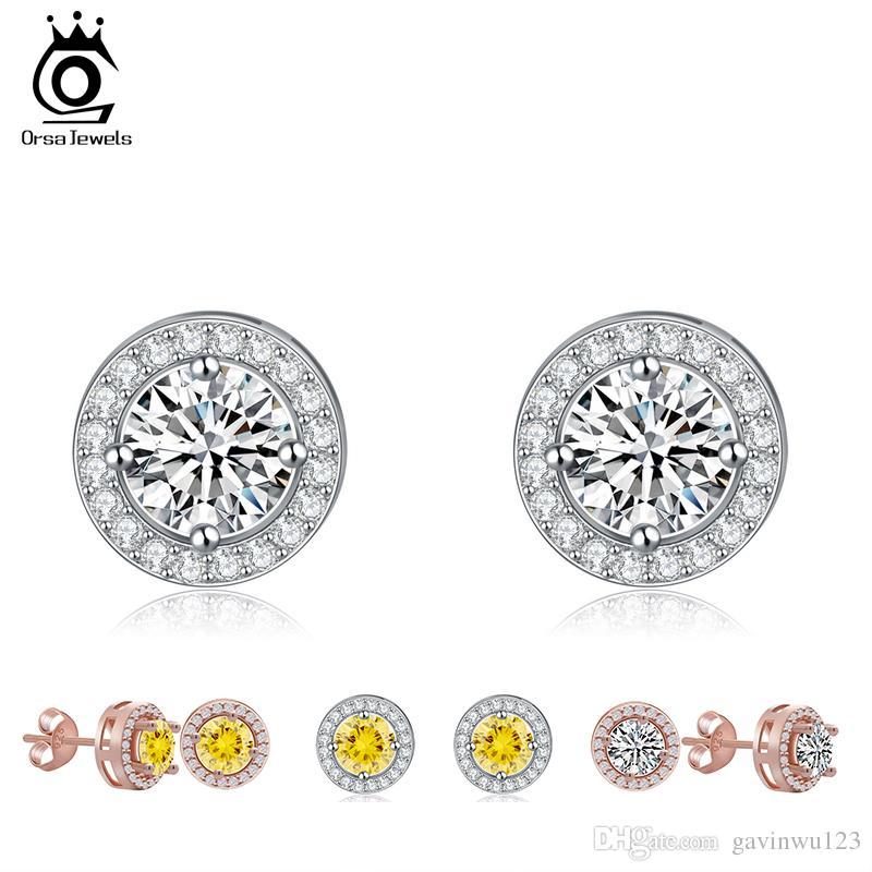 ORSA New Arrival Brinco de Prata Stud com platinadas corações e setas Cut CZ cristal Zirconia Jewelry OE104