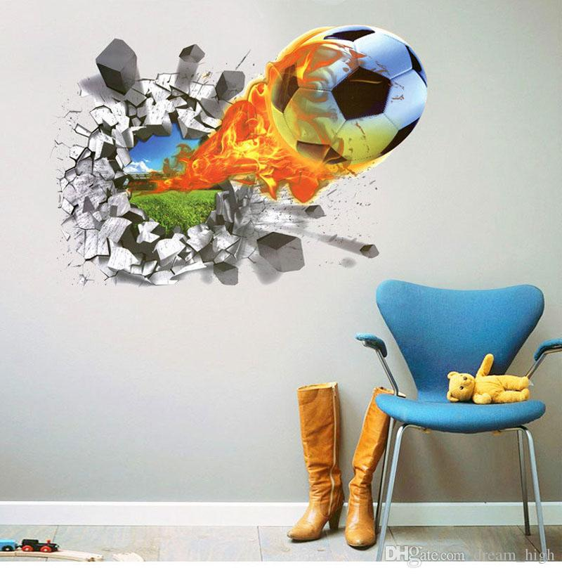 50*70cm Football Soccer Ball Through From The Football Field Wall Stickers  TV Background Bedroom Wall Decals Boys Room Decor Gift Decor Designs Wall  ...