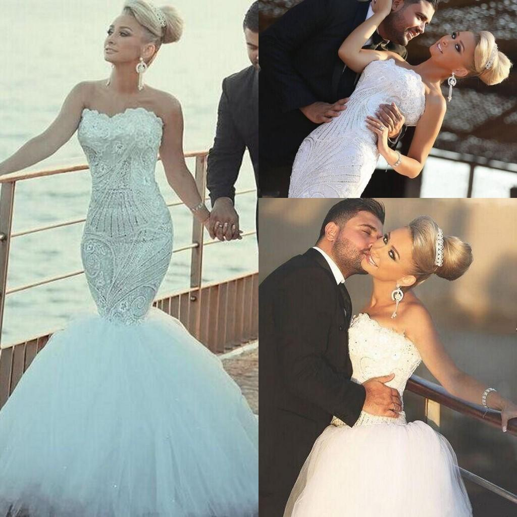 Sparkle Wedding Dresses Mermaid Style Detachable Train Over Skirts ...