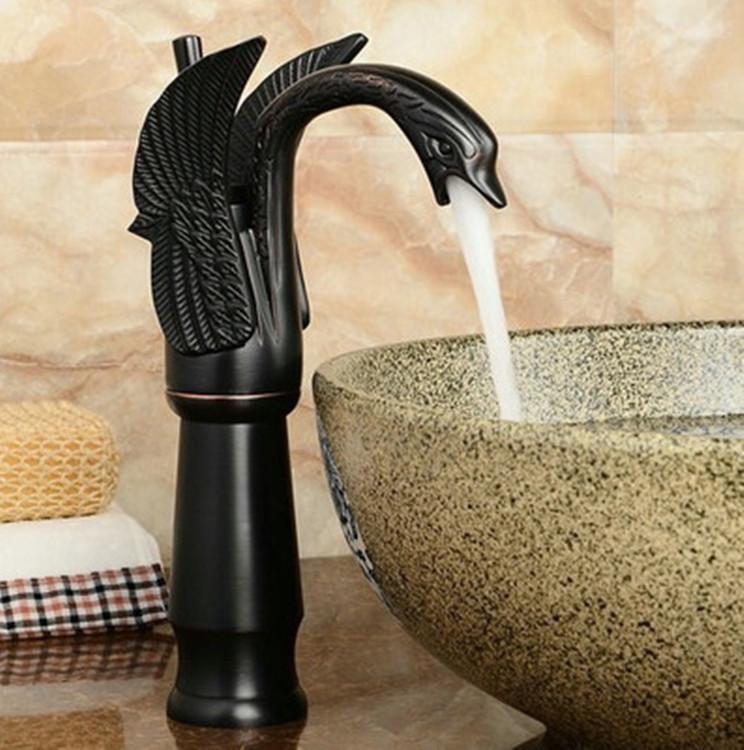 Toptan ve perakende ücretsiz kargo Bakır havza musluk Mutfak banyo musluk Avrupa tarzı Do eski vintage Siyah Bronz Kuğu