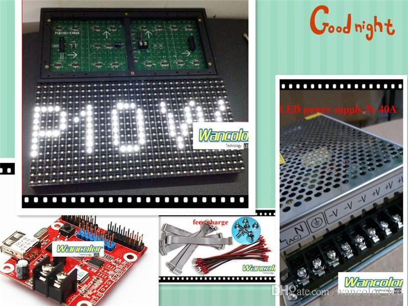 무료 배송 공장 가격 20pcs p10 야외 LED 스크롤 디스플레이 화이트 컬러 p10 디스플레이 모듈 + 2pcs 전원 공급 장치 + 컨트롤러