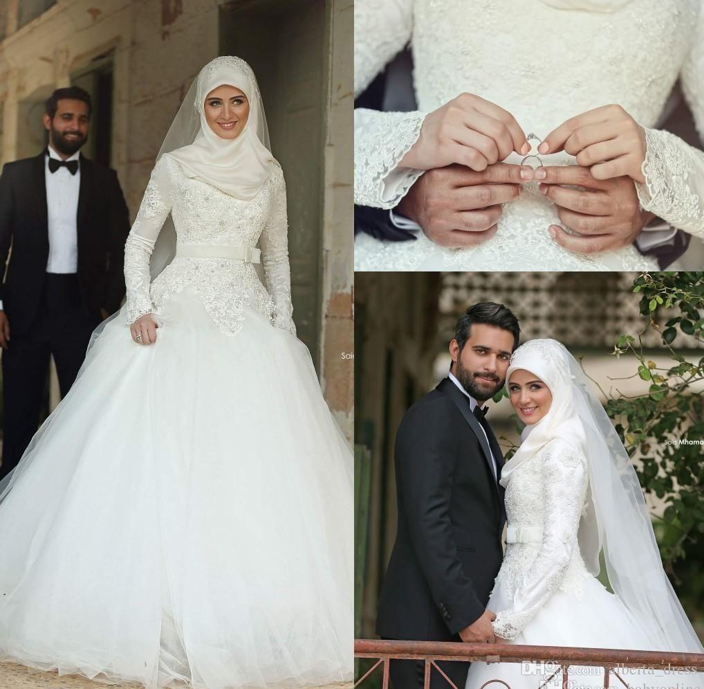 Arabic Dubai Muslim Wedding Dresses 2016 Saudi Arabian Modest High Neck Hijab Wedding Gown Long Sleeves Lace Applique Beaded Bridal Dresses Black