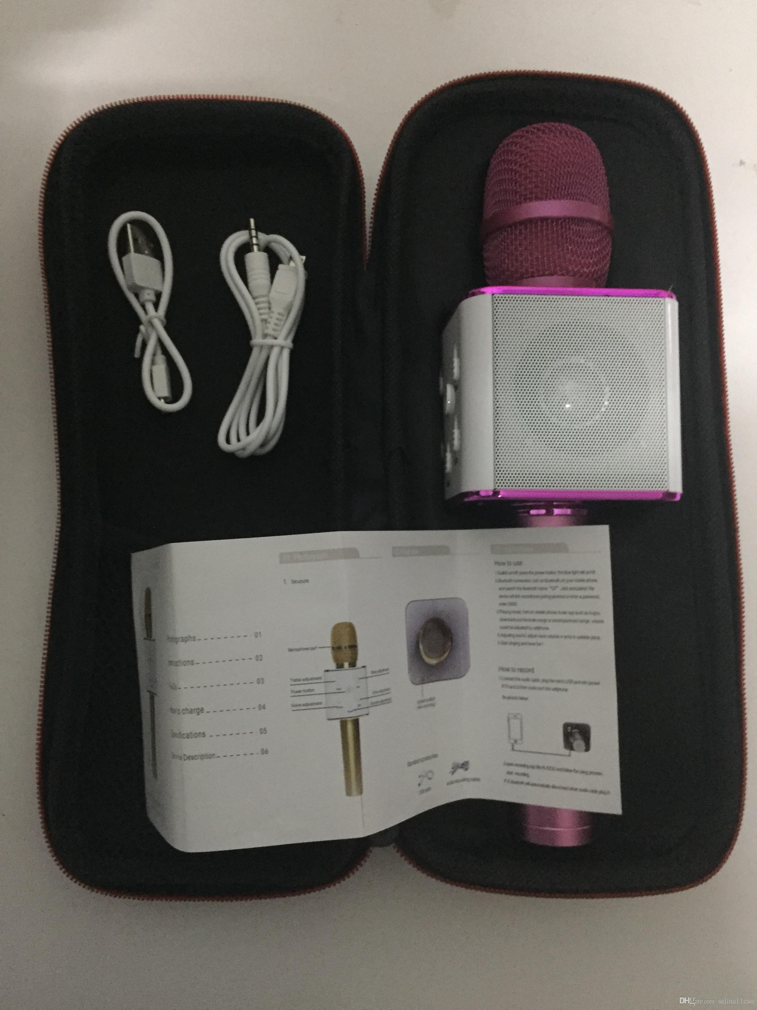 Drahtloses Handmikrofon Q7 Magie KTV mit Lautsprecher Handlautsprecher Tragbarer magischer Bluetooth Karaoke-Spieler für Smartphone iPhone 7