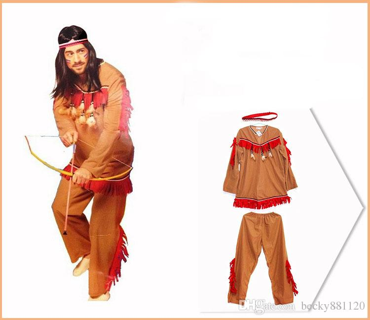 Original Costumes.Halloween Costumes Adult Men African Original Indian Savage Costume Adults Wild Cosplay Clothing Halloween For Men Wholesale Themed Group Costumes
