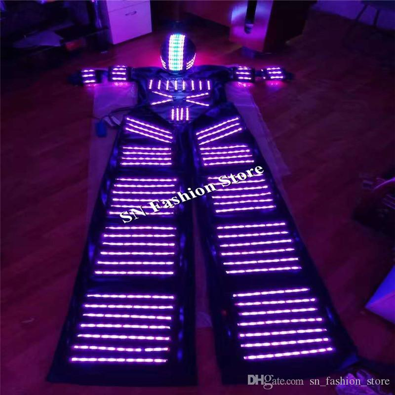 L97 Mens RGB light robot costumes dance led costumes ballroom luminous glowing party stage wears led suit stilts show led helmet