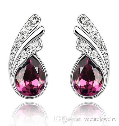 Wholesale 925 silver Plated Swarovski Elemement Crystal Leaf Stud Earrings for Women Wholesales Fashion Bridal Jewelry Wedding Accessories