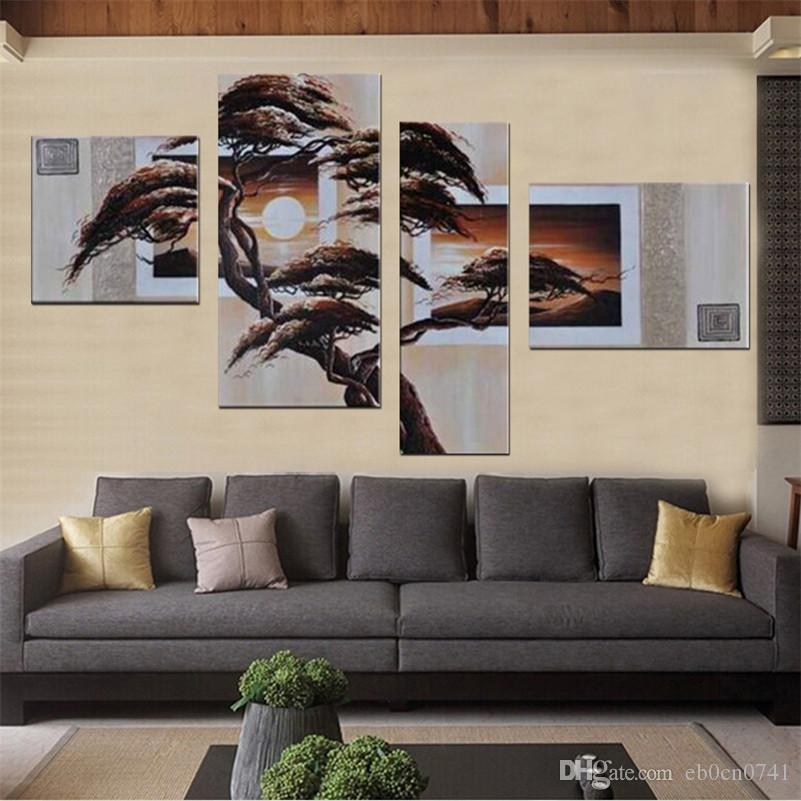 Moderno paisaje escénico belleza bosque pintura al óleo sobre lienzo Wall Art Top decoración del hogar 4 unids / set
