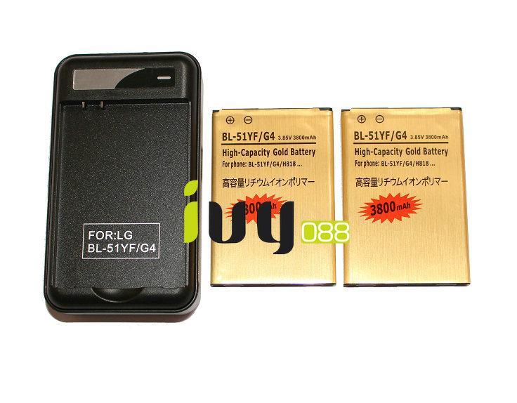 2pcs 3800mAh BL-51YF batería de repuesto de oro + cargador para LG G4 H818 H818N VS999 F500 F500S F500K F500L H815 H810 H819