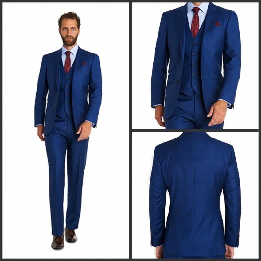 Custom 2015 Two Button Royal Blue smoking smoking Notch Risvolto dello sposo Smoking Smoking Suit (Giacca + Pantaloni + Tute) abiti da sposa uomo Abiti