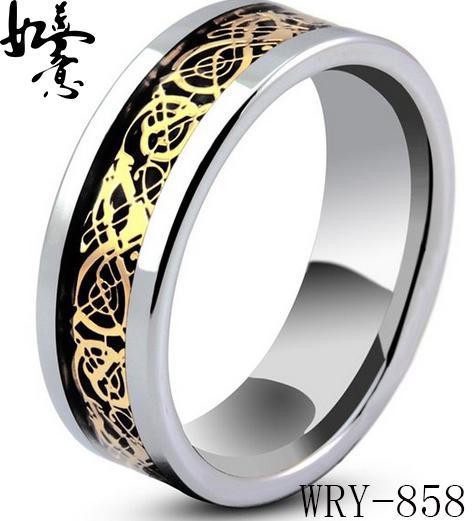 18Kgold plaqué concave anneaux de tungstène bijoux de mode bandes de mariage en carbure pour hommes WRY-858 8mm largeur