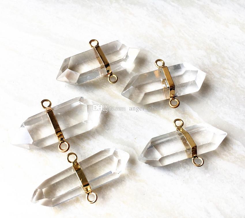 Conector de cuarzo de cristal de roca encantos colgantes con doble fianza, oro cuarzo Druzy piedra preciosa colgante para collar de joyería