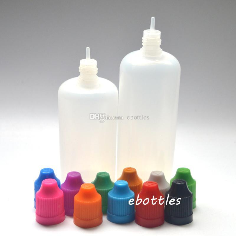 LDPE 전자 cig E 액체 120 ml 빈 100 ml 플라스틱 Dropper 병 childproof 모자와 긴 얇은 팁 바늘 E 주스 병