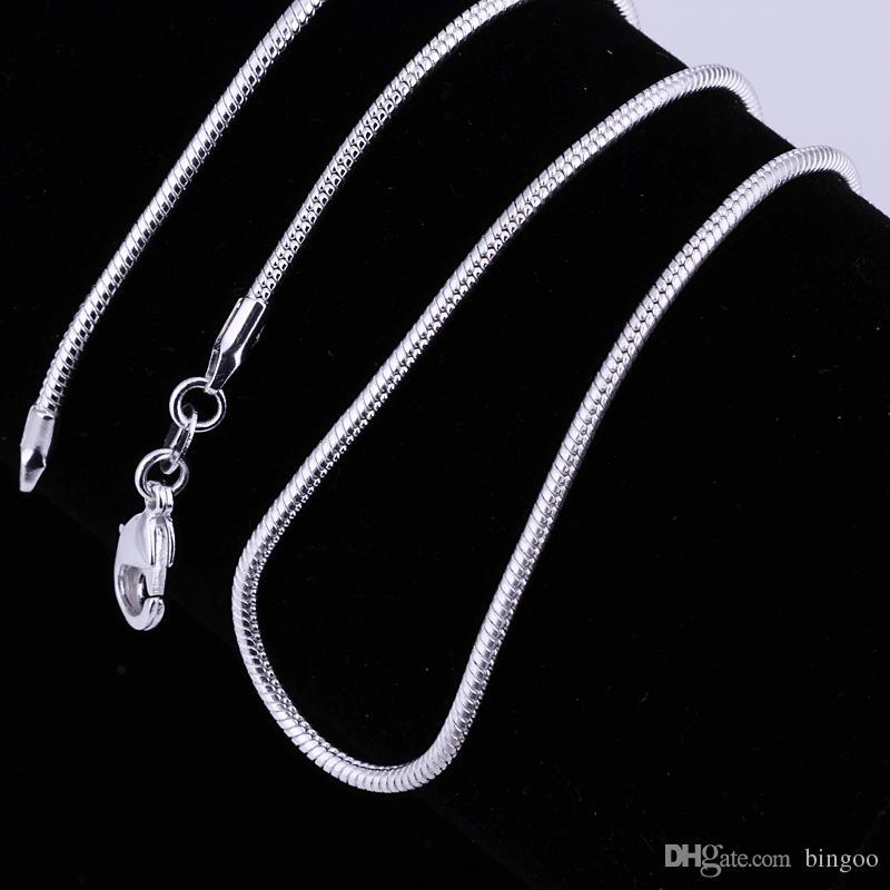 Modeschmuck Silberkette 925 Halskette Schlangenkette für Frauen 2mm 16 18 20 22 24 Zoll