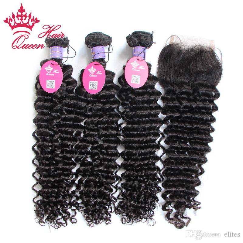 Products Rainha Produtos Malásia Virgem Humano Cabelo Humano emaranhado Free Profundo 4 pçs / lote, 3 pcs pacote de cabelo com fecho de renda, transporte DHL