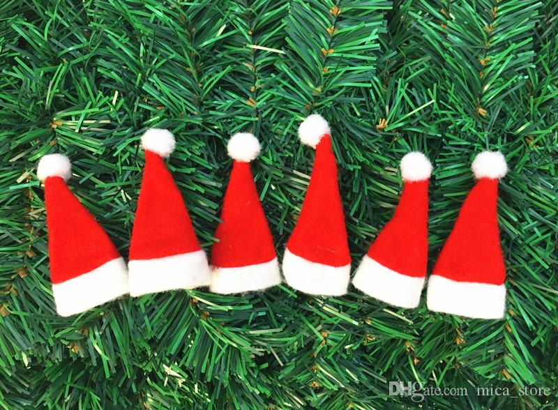 wholesale christmas decorations red mini christmas hat lollipop christmas cap christmas non woven cap christmas - Wholesale Christmas Decorations