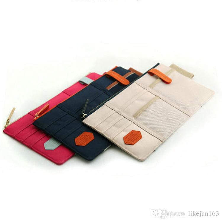 Bolsa de almacenamiento de la bolsa de bolsillo del organizador de la bolsa del visera del sol para el caso del teléfono celular de las tarjetas del sostenedor de las tarjetas de la pluma
