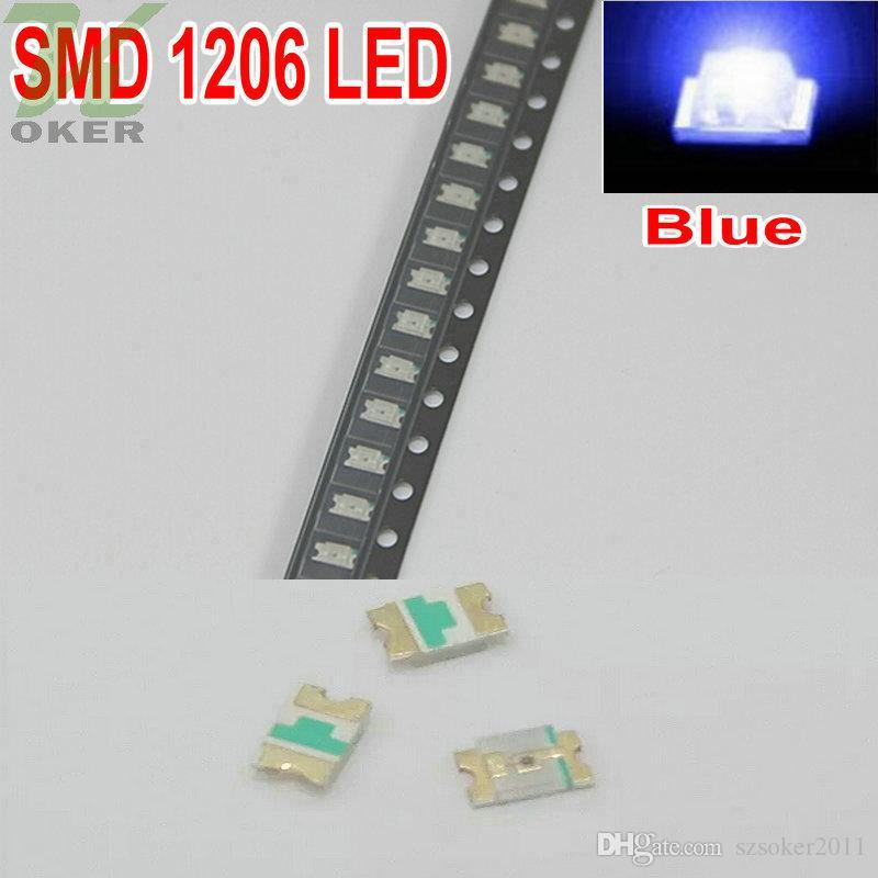 3000 pz / bobina SMD 1206 (3216) LED Blu Lampada Diodi Ultra Bright SMD 3216 1206 SMD LED Spedizione gratuita