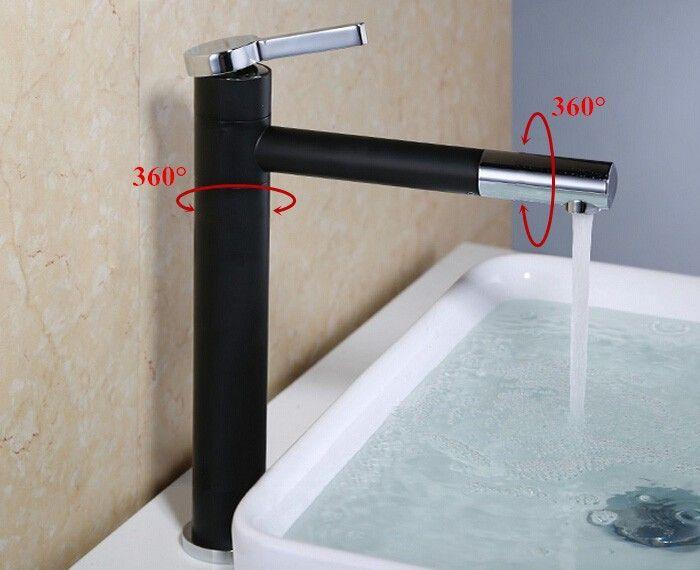 Cromo de cobre e preto colr Cachoeira Banheiro 360 girar banheiro Torneira Da Bacia Único Lidar Com pia Sink Mixer cor preta Toque BF002-C