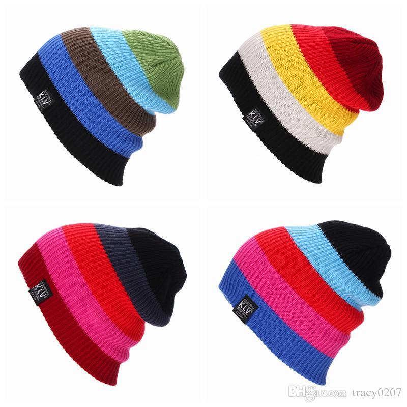 Femmes Hiver Tricoté Chapeaux Couleur De Gradient Bonnet Pour Hommes Femmes Bonnets Masque Chapeau Bonnet Sport En Plein Air Ski Chapeu Chapeu