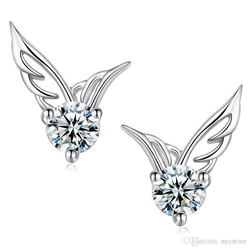 Factoy sale 120pairs/lot Angel Wings Earring Cubic Zirconia Women Party Stud Earring white gold plated Casual Crystal Retro fashion Earrings