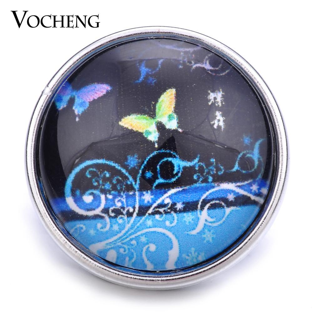 VOCHENG NOOSA Vente en gros 18mm Glass Snap Bijoux Bouton Papillon Charm Vn-1196