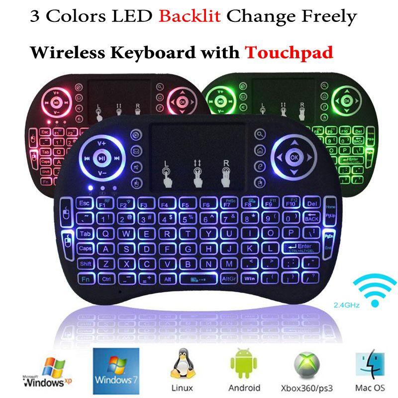 Rii i8 + Mini teclado inalámbrico retroiluminado Ratón Retroiluminación multitáctil para MXQ Pro M8S Plus T95 S905 S812 Smart TV Android TV Box PC