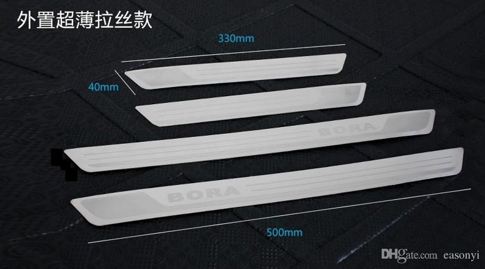 Free shipping Stainless Steel Door Sill Scuff Plate Welcome Pedal Threshold Strip For vw Volkswagen Bora 2013-2016 car styling accessories