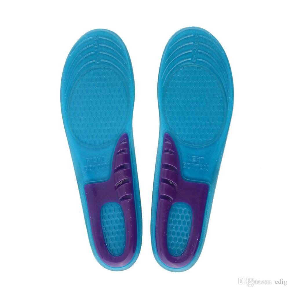 2PCS / LOT Pattino in gel di silicone blu Piedini per tallone Inserto soletta Cuscino confortevole Antivibrazione Morbido per gli sport di allenamento