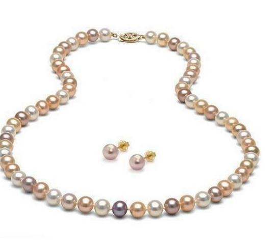 8-9mm White Pink Purple Multicolor Natural South Sea Pearl Necklace 20 inch + Earring Set 14k Gold