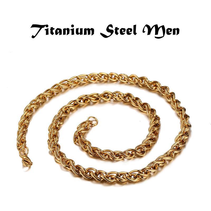 Mens Simples Colar de Jóias Joyas Titanium Aço 18 K Banhado A Ouro O Torcida Homens Cadeias Colares 61 cm * 0.7 cm
