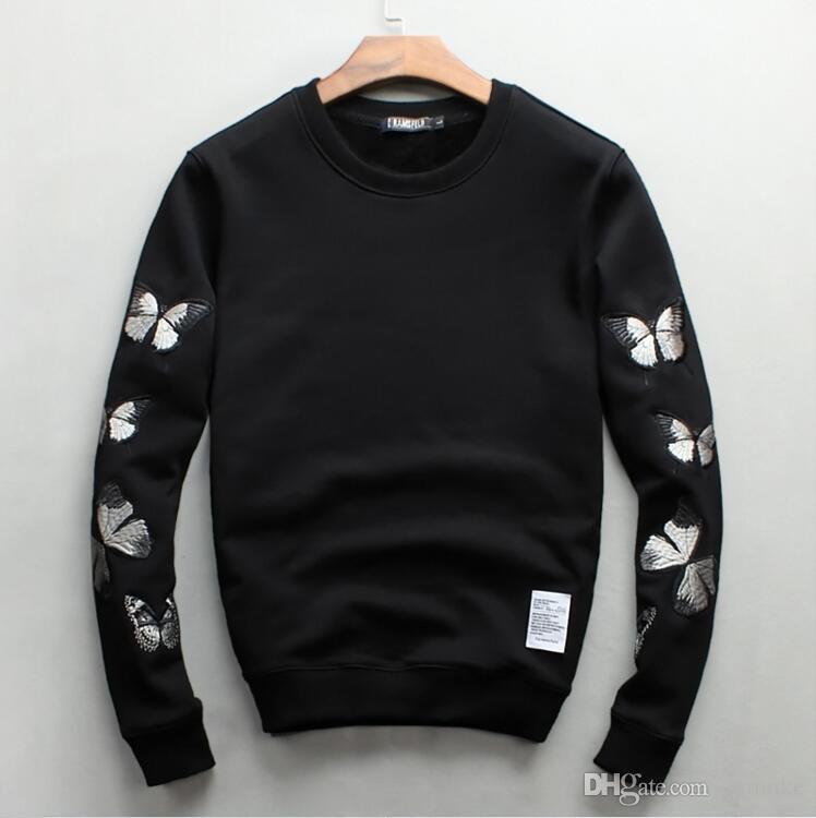 Homens por atacado de luxo Bordado design engrossar Camisolas quentes moda masculina engraçado marca tops de algodão e Moletons 09g