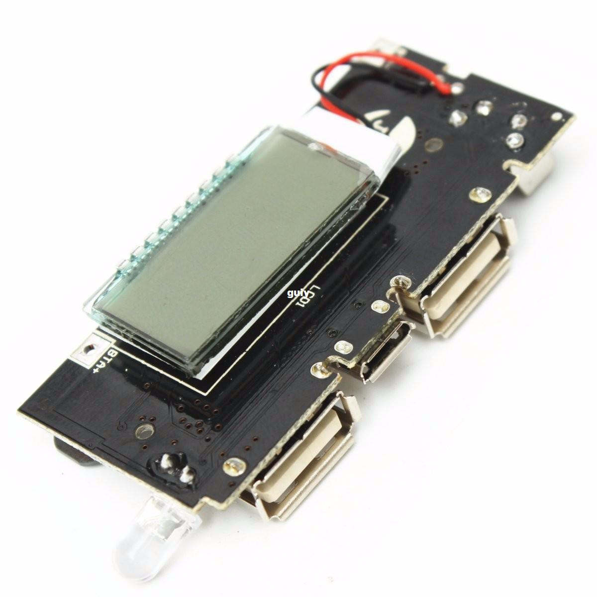 Freeshipping Dual USB 5V 1A 2.1A Mobile Power Bank 18650 Battery Charger PCB Power Module Accessories For Phone DIY New LED LCD Module Board