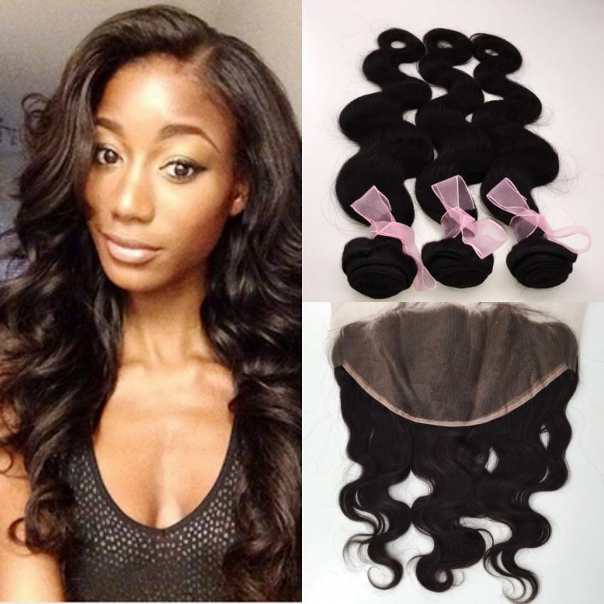 Brazilian Hair Malaysian Freestyle 13x6 Full Frontal Lace Closures and Hair Peruvian Lace Frontal Body wave with 3 Bundles Hair