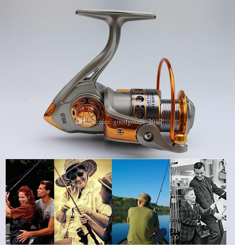 Drehzahlverhältnis 5,2: 1 Metall Spinning Angelrolle EF1000-6000 Spinning Reels Ozean Meer Boot Eisfischen Aluminium FISCHT 12er Ball M929 angehen