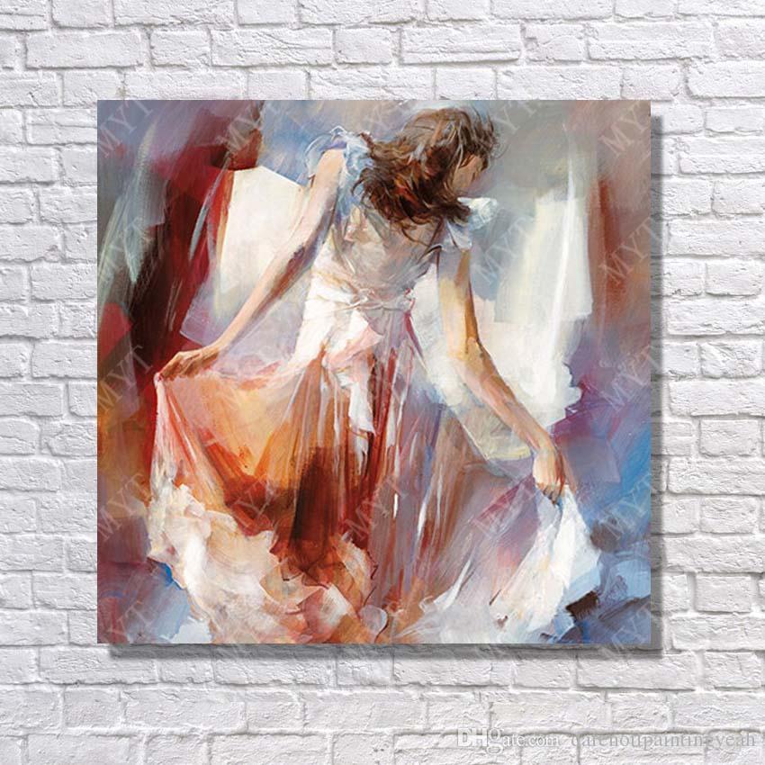 Abstrait Belle Robe Fille Peinture À L'huile Décor À La Maison Moderne Toile Art Peint Par Artiste Non Encadré